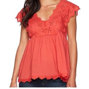 Lucky Brand Eylet Poppy Red Tank Top